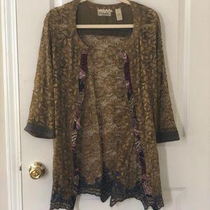 BKE Olive Lace Kimono Size Medium